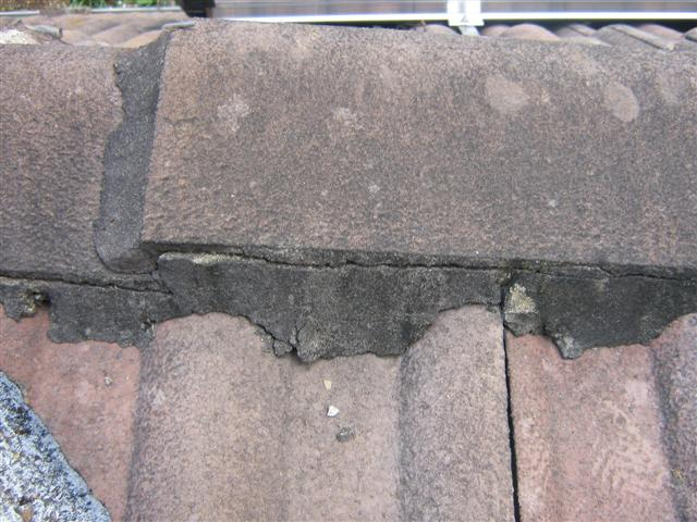 Roof caping-damaged